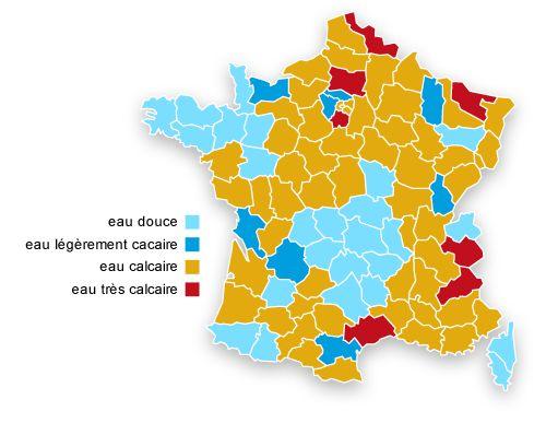 Carte des régions de France les plus calcaire